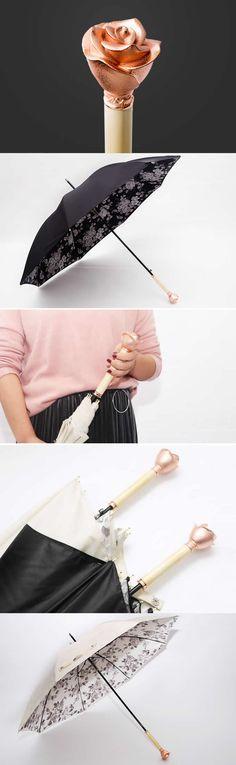 Wooden Rose Handle Double Layer Sun Rain Umbrella