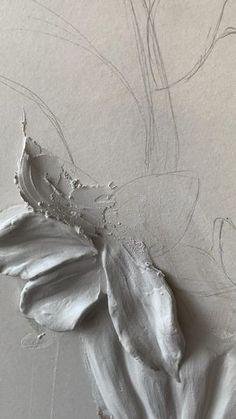 Plaster Crafts, Plaster Art, Texture Painting, Texture Art, Flower Texture, Diy Canvas Art, Large Wall Canvas, Textured Canvas Art, Mixed Media Canvas