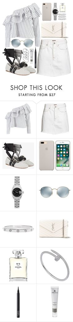"""inspired outfit for lunch during vacation"" by crisarranz ❤ liked on Polyvore featuring Boohoo, Miu Miu, Rolex, Ray-Ban, Cartier, Yves Saint Laurent, Chanel, NARS Cosmetics and Borghese"