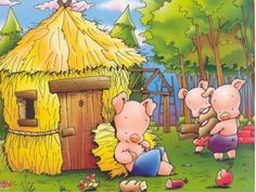 Os três porquinhos   história Huff And Puff, Piggly Wiggly, Looney Tunes Cartoons, Three Little Pigs, Nursery Rhymes, Storytelling, Illustration, Fairy Tales, Third