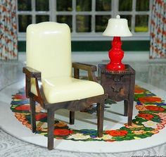Jaydon Chair with Renwal Table Lamp Vintage Dollhouse Furniture Ideal Marx | eBay