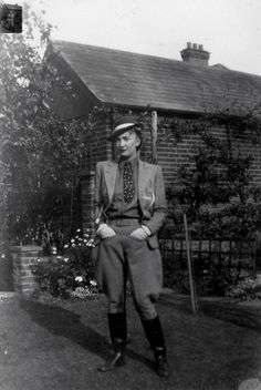 C.1940's vintage fashion style street found photo print ad model magazine 40s woman in riding outfit habit hat jacket vest tie jodhpurs pants boots casual sportswear