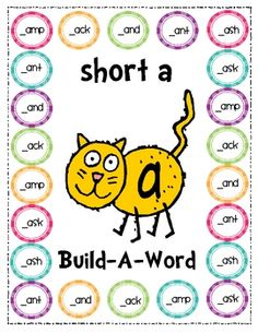 "Build-A-Word. Students add the first letter and then say the word to better understand what a short ""a"" sounds like."