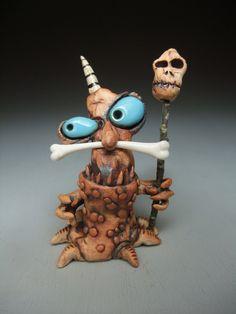 "Cannibal Monsters / 3.5""T / Light Blue, Red, Light Blue eyes, Glass Bone / 2014"