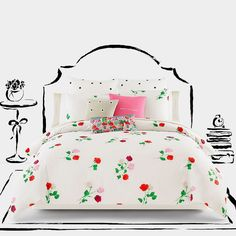 Soften the look of your favorite space with the Willow Court Duvet Cover Set from kate spade new york. The sweet and dainty set features a lovely scattered floral print on a beautiful, crisp ivory ground for a playful, yet feminine touch. Dorm Bedding Sets, Twin Comforter Sets, King Duvet Cover Sets, Duvet Sets, Bedding Shop, Duvet Covers, Rose Comforter, King Comforter, King Size Comforters