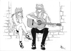 Saint Seiya - Scorpio Milo and Shaina. Milo singing to her. By Eagiel.