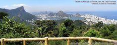 Vista panorâmica do Rio com partes do Maciço da Tijuca