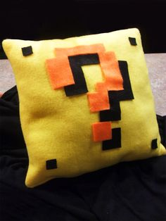 Super Mario Question Mark Block Pillow 8bit by audreymade on Etsy, $14.00