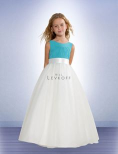Bill Levkoff 52101 These sleeveless Chiffon flower girl dresses feature a gorgeous Ivory Bobbinette skirt The bodice has a charming Scoop neckline The skirt is always Ivory and the pleated bodice is available in any Chiffon color The Charmeuse pleated sash is available in any Charmeuse color these flower girl dresses are designed to complement Bill Levkoff bridesmaid dress style 521 #timelesstreasure