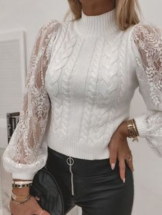 Spring Fashion Casual, Trend Fashion, Lace Sweater, Lace Knitting, Lace Sleeves, Cable Knit Sweaters, White Lace, Sweaters For Women, Winter Sweaters