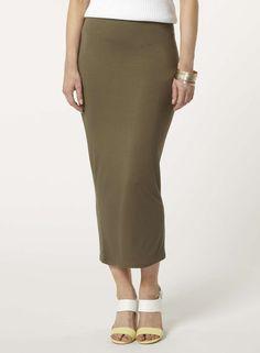 Khaki High-Waisted Tube Skirt - Dorothy Perkins