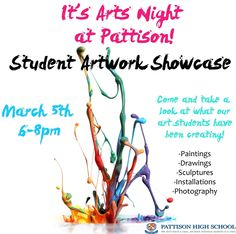 Arts Night at Pattison High School - Student Artwork Showcase T Art, High School Students, Art Projects, Sculptures, Teaching, Night, Artwork, Photography, Art Designs