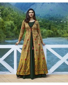 Fancy Print Design On Lovely Multi Color Party Wear Kurti Kurta Designs Women, Kurti Neck Designs, Dress Neck Designs, Kurti Designs Party Wear, Blouse Designs, Jacket Style Kurti, Kurti With Jacket, Indian Designer Outfits, Designer Dresses