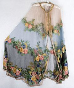 Early 20th century embroidered tulle cape
