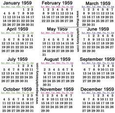 1959 Calendar