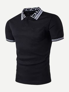 To find out about the Men Greek Key Print Detail Polo Shirt at SHEIN, part of our latest Men Polo Shirts ready to shop online today! Streetwear Shorts, Fashion News, Mens Fashion, Diy Fashion, Fashion Trends, Trench Dress, Black M, Romwe, Printer