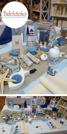 Maritime Tisch Dekoration zur Kommunion oder Konfirmation - Mit Fischernetzen, Treibholz und Leuchttürmen gestalten Sie eine tolle maritime Tischdekoration für Ihre Kommunion- oder Konfirmationsfeier.
