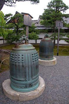 Signal bells at Nijojo castle in Kyoto, Japan