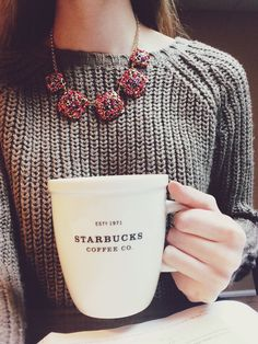 comfy grey sweater + statement necklace