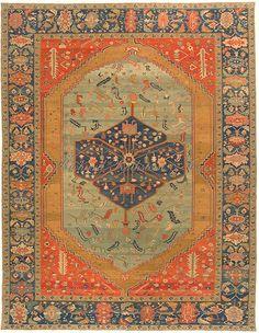Very Large Serapi Rug with greens and rusts, Serapi Oriental rug, x Persian Carpet, Persian Rug, Iranian Rugs, Iranian Art, Art Chinois, Interior Rugs, Art Japonais, Textiles, Carpet Colors