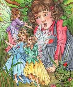 Fairies in the Garden (watercolour) by Alison Mutton | www-alene-art.com