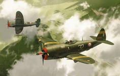 <p>Republic P47D Thunderbolt du 2/5 La Fayette, au dessus du Valmijoux  dans le Jura 1944-45<br/>Tirage  Editions Drivers<br/>Aéro Artbook Editions Paquet 2009