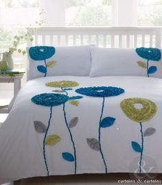 Teal Blue Green Kavala Floral Motif Duvet Cover - Bedding UK