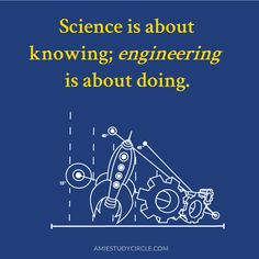 Science is about knowing; engineering is about doing. Tech Quotes, Engineering, Science, Technology, Memes, Tech, Tecnologia, Flag, Mechanical Engineering