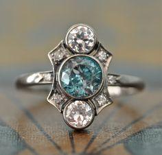 Art Deco Engagement Ring-Unique Engagement Ring -Blue Zircon Diamond Engagement Ring - 1920s Engagement - Antique Wedding Ring- Aquamarine