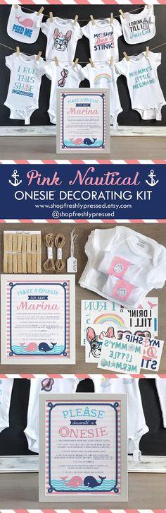 Ocean Theme Nursery 2 Inch Baby Shower Craft Shower Activity DIY Baby Block Kit Nautical Sailor