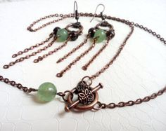 Jewelry set 'Florise' - Matching necklace and earrings - Copper chain and jade gemstone beads - handmade jewelry