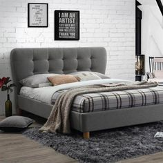 The Stockholm bed frame is simple in design but has a very distinctive headboard design that creates a real centre piece. The chunky deep buttoned headboard actually overhangs the width of the side rails giving a very retro look. Cushion Headboard, Upholstered Bed Frame, Fabric King Size Bed, Fabric Beds, Buy Beds Online, Grey Bed Frame, Bed Frames, Headboard Designs, Architecture