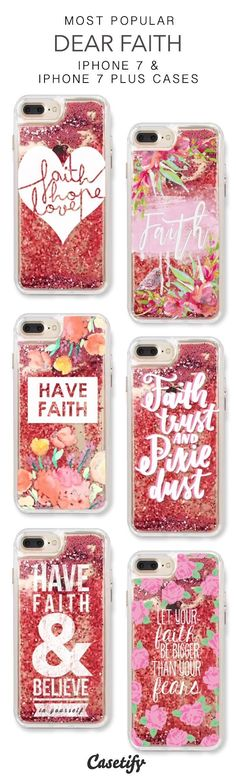 Most Popular Dear Faith iPhone 7 Cases & iPhone 7 Plus Cases. More protective liquid glitter quote iPhone case here > https://www.casetify.com/en_US/collections/iphone-7-glitter-cases#/?vc=nS4CAWRZH7 #iphone7case, #iphone7pluscase