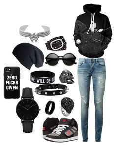 """""""Back in Black"""" by viiscera ❤ liked on Polyvore featuring Yves Saint Laurent, WithChic, DC Shoes, CLUSE, West Coast Jewelry, Casetify, Black, ZeroUV, Topshop and Alex and Ani"""