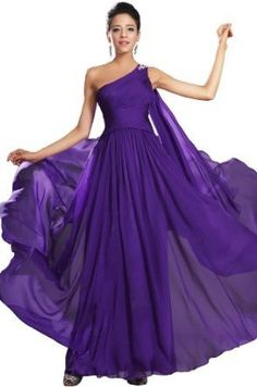 eDressit One Strap Purple Evening Dress Prom Ball Gown