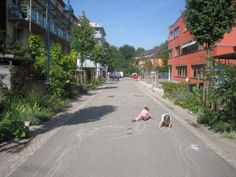 Vauban, Germany, a car-free suburb of row houses on the outskirts of Freiburg