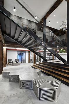 West Elm's Sleek New Brooklyn Headquarters | stairway | #stairway #office http://www.ironageoffice.com/
