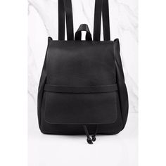 Tobi Trust Nobody Faux Leather Bucket Backpack (€48) ❤ liked on Polyvore featuring bags, backpacks, black, vegan leather bags, flap backpack, faux leather bucket bag, faux leather rucksack and flap bag