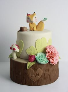 Woodlands Themed Baby Shower Cake
