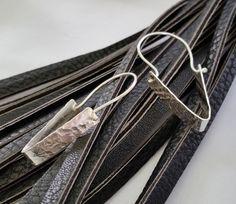 Simple sterling silver dangle earrings by modernsilver on Etsy