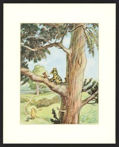 Nursery Wall Art, Classic Winnie the Pooh Nursery  (8x10 Vintage Kids Wall Art) Tiggers Don't Climb Trees