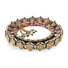 A PERIOD DIAMOND 'POLKI' AND ENAMELED PACHELI BANGLE-#flowerhead #rajasthani #traditional