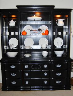 notice the white dishes with the orange accents