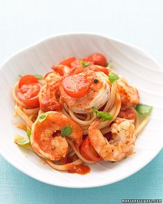 shrimp, tomato, & basil pasta. [raises hand] i'll have some, please!