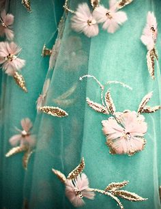 """VanGogh's"""" Almond Blossoms"""" as curtains ??!! Embroidered turquoise sheers... from a sari? Dreamy: where to buy, anyone?"""