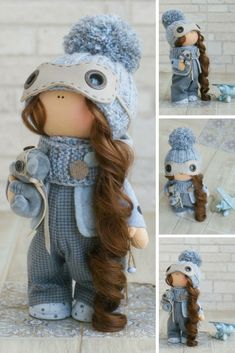 Titles: Winter Doll Christmas Doll New Year Doll Fabric Doll Handmade Doll Muñecas Textile Blue Rag Doll Cloth Doll Tilda Doll Baby Doll by Alena R  This is handmade soft doll created by Master Alena R (Moscow, Russia).  Doll is 30 cm (11.8 inch) tall. Dolls and toys are made from quality materials - european dolls fabric and/or american 100% cotton. Knitted elements are made from wool and/or mohair. All materials are tender and pleasant to touch.