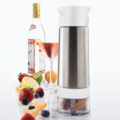 Infuse your favorite spirits with fresh fruit, berries, herbs. Combine fresh ingredients in the bottom, then twist to infuse -- no mess. $24.99