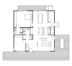 Connect 5 House Floor Plan: A Kitchen / B Dining Room / C Living Room / D Master Bedroom / E Bathroom / F Bedroom / G Utility Room / H Deck.  Photo by: Joe Fletcher