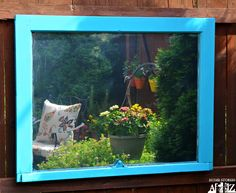I have had a pile of old windows sitting in our basement for years just waiting for some inspiration. My Lowes Creative Ideas Blogger challenge this month was to create some type of diy outdoor art. I chose to use one of my old windows to create an outdoor mirror for our backyard. Today, I will show you how to make your own outdoor mirror!