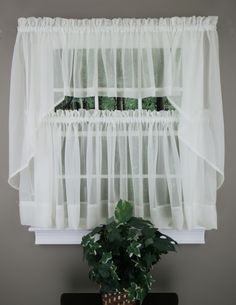 Beau Elegance Sheer Voile Swag Pair, Tier Curtain Panel U0026amp; Insert Valance In  Colors And